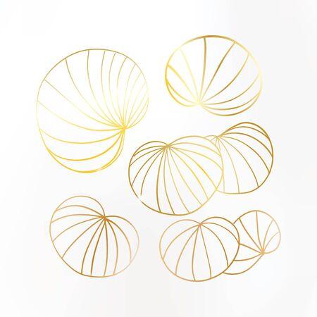 Gold leaves on white background. Lily leaf set with sparkles. Noble design. Vector illustration. Ilustración de vector