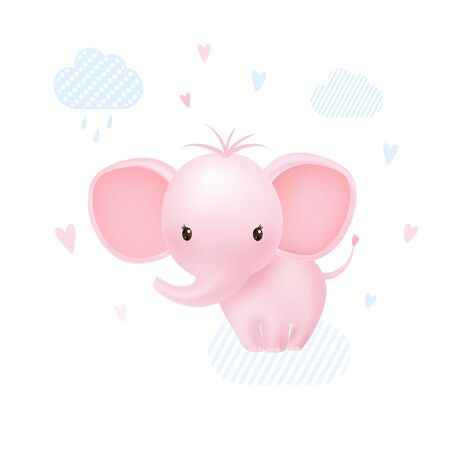 Pink baby girl elephant happy with hearts and clouds. Cartoon vector illustration. 向量圖像