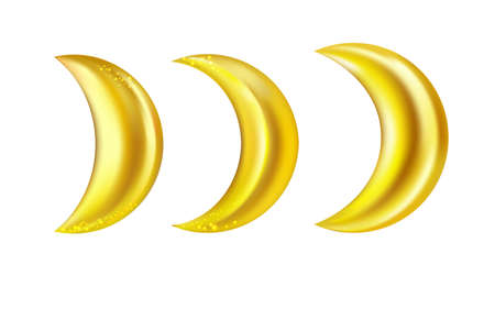 Gold crescent realistic icon set isolated on white background.Vector.