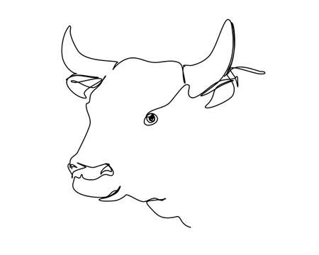 Abstract continuous young cow or calf in one line style with an editable stroke isolated on white background. Векторная Иллюстрация