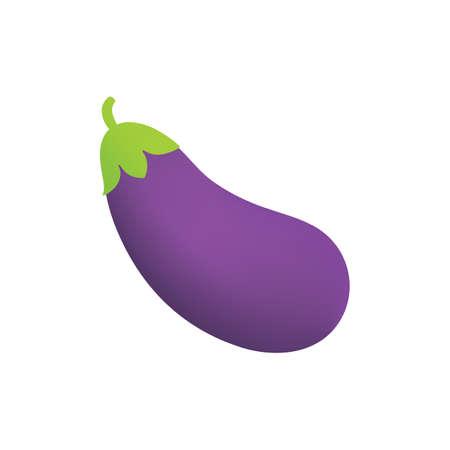 Eggplant icon in a cartoon style, aubergine emoji isolated on white background.