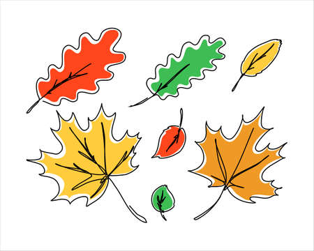 Abstract continuous leaves in a line style with an editable stroke isolated on white background.