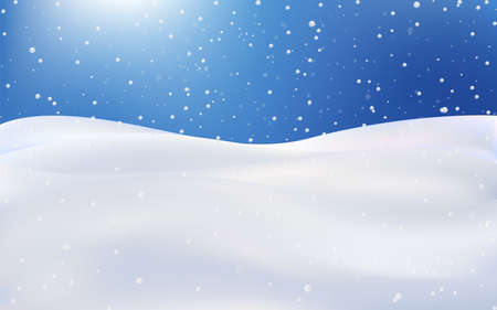 Snow landscape, Christmas wallpaper with falling snowflakes in a realistic style. Premium vector illustration.