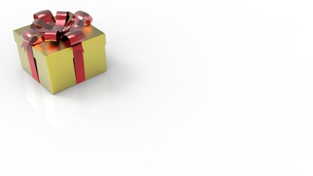 red glittery: Glittery gold giftbox with red bow on white background. 3D render.