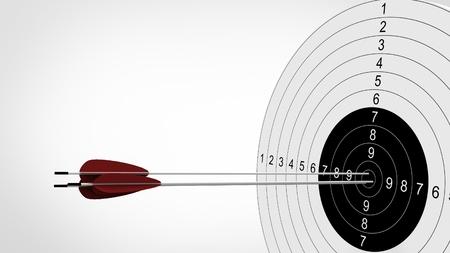 backside: Arrows focus to archery target. 3d illustration. Stock Photo