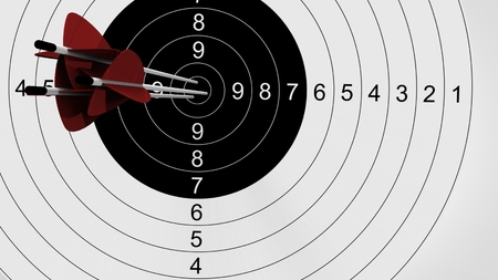 try: Arrows focus to archery target. 3d illustration. Stock Photo