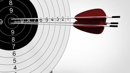 archery target: Arrows focus to archery target. 3d illustration. Stock Photo