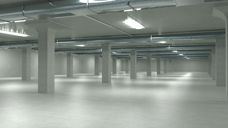 3d mode: Parking garage interior, industrial building,Empty underground parking. 3d illustration