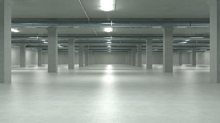 Parkeergarage interieur, industrieel gebouw, lege ondergrondse parkeergarage. 3d illustratie