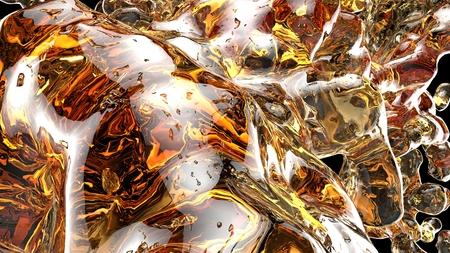 Orange water splashes on black background. 3d illustraton
