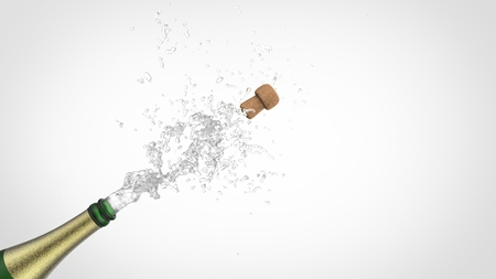 popping cork: Celebration theme with splashing champagne, isolated. 3d illustration