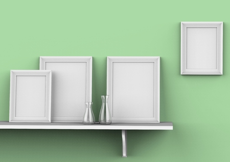 mockup of blank three picture frames on a shelf.