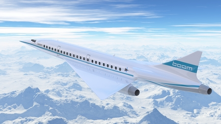 Boom XB-1 Airlines airplane flying in the sky. 3d Illustration