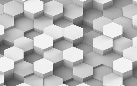 on white: White And Grey Hexagon Metal Background Texture. 3d illustration