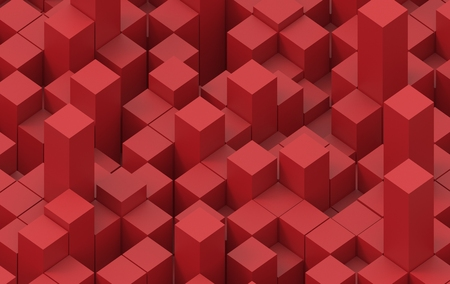 Abstract image of cubes background in red toned. 3d illustration. Stock Photo