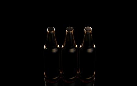 Bottles of beer on a black background. 3d illustration.