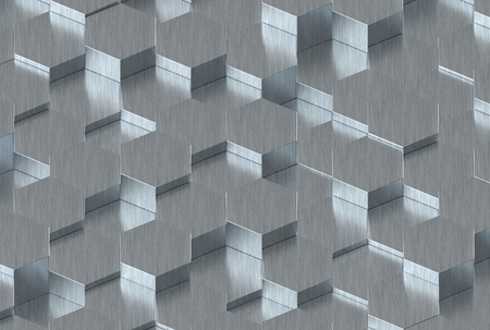 wall decor: Metal Hexagon Background Texture. 3d render Stock Photo