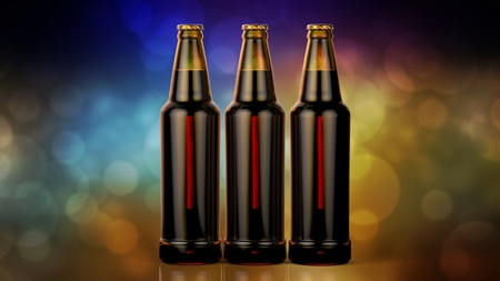Close up bottles of beer on a bokeh background.