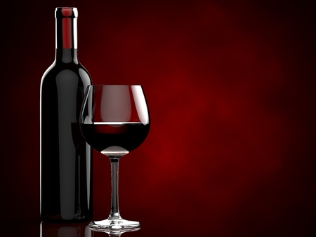 bottle with red wine and glass on a red background. 3d illustration.