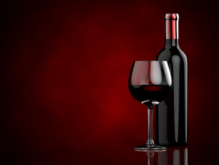wineglass: Bottles and glasses with red wine on a red background. 3d illustration.