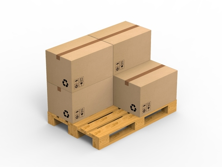 boxboard: Wooden palette with cardboard boxes on white background. 3d illustration.