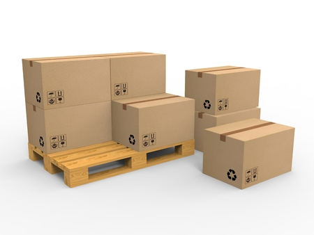 Wooden palette with cardboard boxes on white background. 3d illustration.
