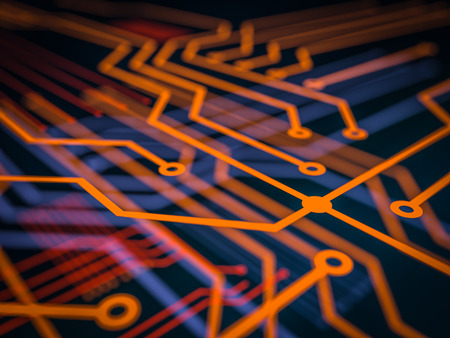 Circuit board futuristic server code processing. Orange, green, blue technology background with bokeh. 3d Illustration Stock Photo