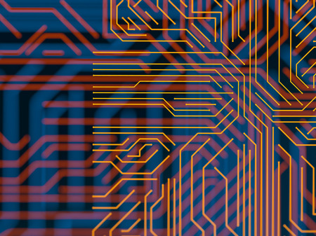 Circuit board futuristic server code processing. Orange, blue technology background with bokeh. 3d Illustration