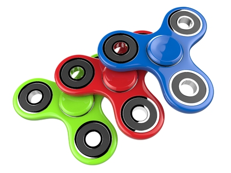 The colorful fidget SPINNERs stress relieving toy on white isolated background. 3d illustration. Stock Photo