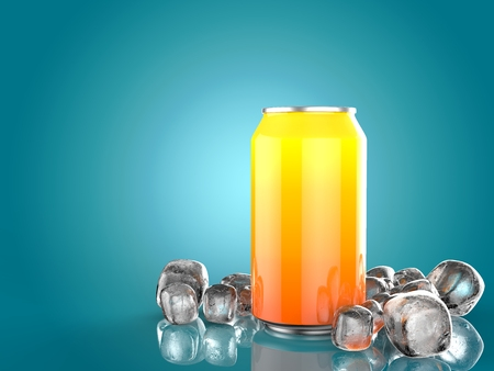 Close Up of Soft Drink Can With Ice. On Blue Background. 3d Illustration.
