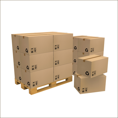 shopping carriage: Brown carton delivery packaging box with fragile signs on wooden pallet isolated Illustration