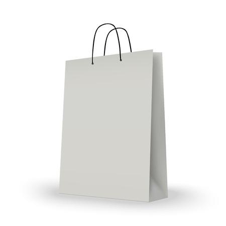White shopping bag on white. vector illustration.
