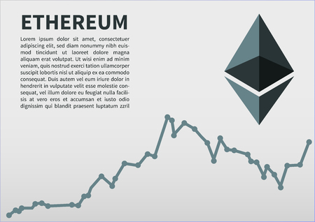 silver coins: Ethereum flat icon for internet money. Crypto currency symbol and coin image. Currency exchange rate. Vector illustration. Illustration
