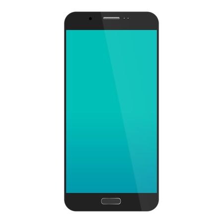 smartphone in  black color with blue touch screen isolated on white background. vector illustration Stock Photo
