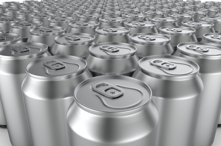 tin packaging: Closeup aluminium soda cans. 3d illustration. Stock Photo