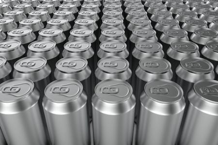 Closeup aluminium soda cans. 3d illustration. Stock Photo