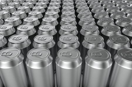 Closeup aluminium soda cans. 3d illustration. Stock Photo