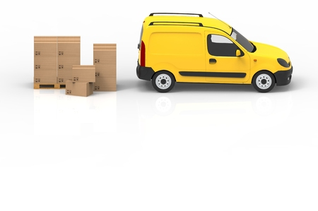 Wooden palette with cardboard boxes and yellow van on white background. 3D illustration.