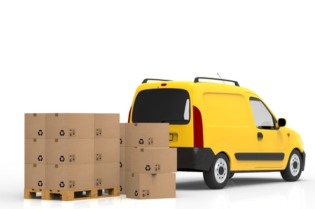 despatch: Wooden palette with cardboard boxes and yellow van on white background. 3D illustration.
