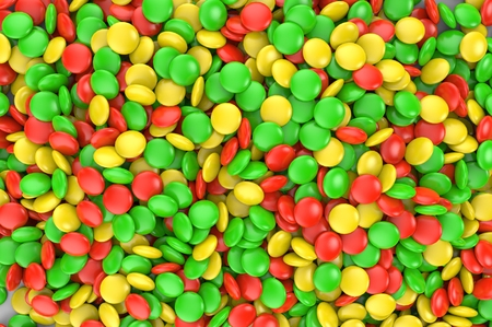 Sweet colorful candy. Candy variation color texture or background. 3D render. Stock Photo