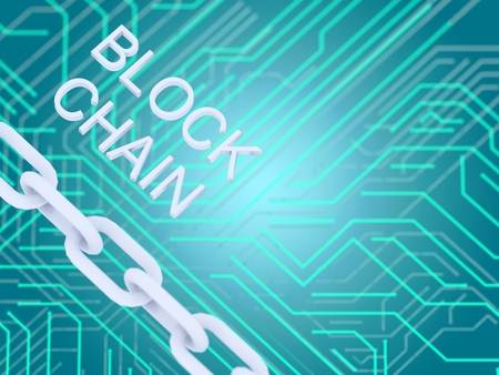 Block chain text and electrical circuit and chain on blue background. 3D illustrationn.