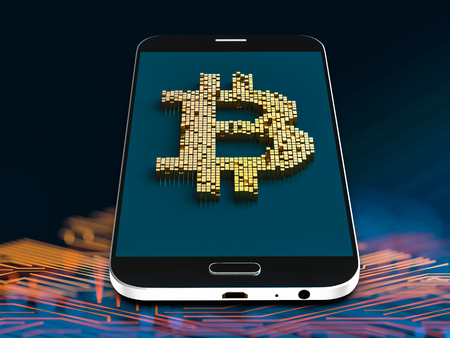 Closeup concept of small cubes in a random layout that build up to form the bitcoin symbol on a generic smartphone. 3D render.