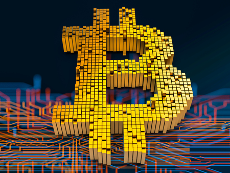 Closeup concept of small cubes in a random layout that build up to form the bitcoin symbol on a circuit board. 3D render. Stock Photo