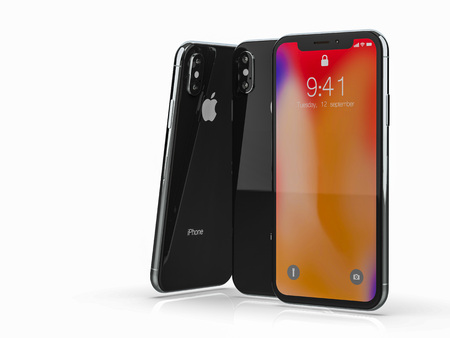 Ekaterinburg, Russia - 20 september: 3D Render of a black iPhone X Illustrative Editorial Image, on a white background.