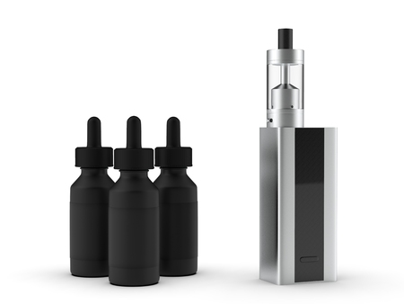 Vaping mod e-cig with tank atomizer and juice bottles. 3d illustration.
