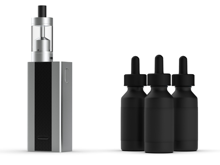 Vaping mod e-cig with tank atomizer and juice bottles. 3d illustration. Фото со стока - 88612103