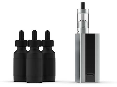 Vaping mod e-cig with tank atomizer and juice bottles. 3d illustration. Фото со стока - 88612106