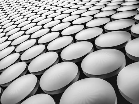 Aluminum discs construction wavy background. 3d illustration. Stock Photo