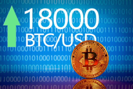 Bitcoin. Market bitcoin price record - eighteen thousand 18000 US dollars Фото со стока - 91737158