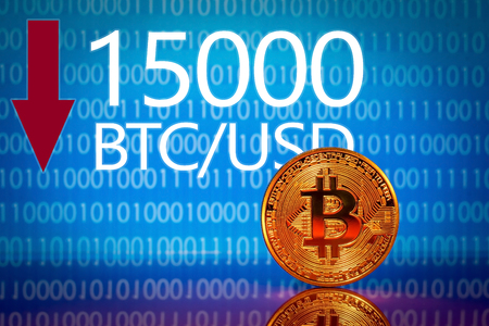 Bitcoin. Market bitcoin price - fifteen thousand 15000 US dollars Stock Photo